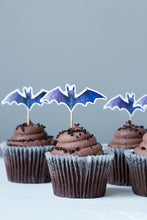 Load image into Gallery viewer, Halloween Bats Cupcake Toppers, Set of 12