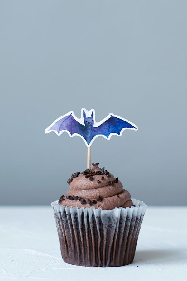 Halloween Bats Cupcake Toppers, Set of 12