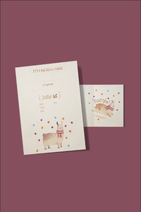 Party Invitation and Thank You Note Llama Party Theme