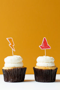 Race traffic cone and speed race cupcakte toppers