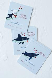 Shark Valentine's day Cards for Kids