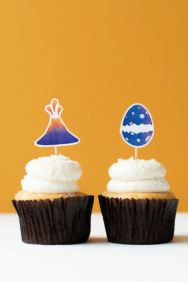 Dino Egg and Volcano Cupcake Toppers, Set of 12
