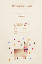 Load image into Gallery viewer, Llama Party Birthday Invitation