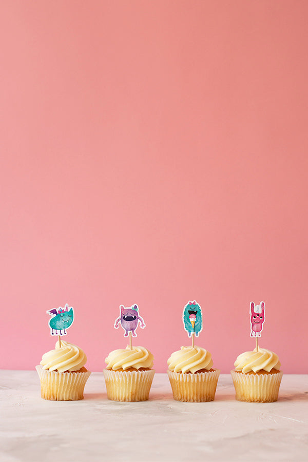 Pinky Monsters Cupcake Toppers