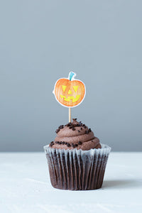 Pumpkin Halloween Cupcake Toppers, Set of 12