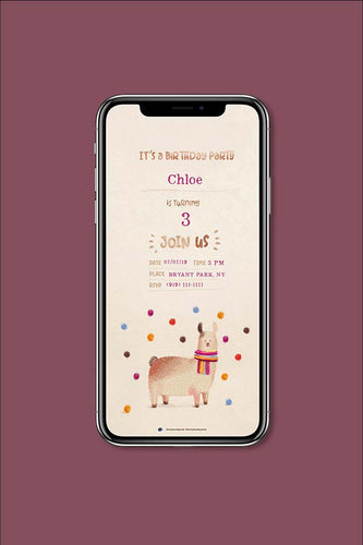 Llamas Digital Birthday Party Invitation