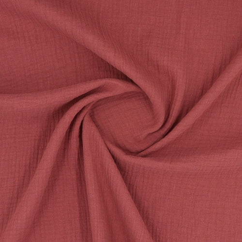 GOTS double gauze rouge fabric swirl