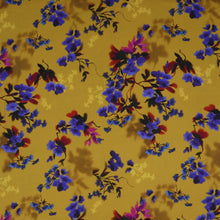 Load image into Gallery viewer, viscose flower ochre oeko-tex fabric