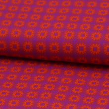 Load image into Gallery viewer, Viscose abstract Purple orange fabric oeko-tex close-up