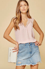 Lace Trim Sleeveless Blouse (S-3X)