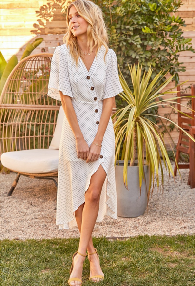 Polka dot midi dress with buttons