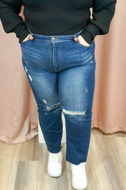 Plus size straight leg distressed jean