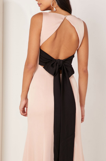 backless open back pink dress with bow detail