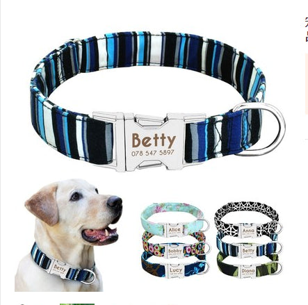 DOG COLLAR PERSONALIZED NYLON PET TAG