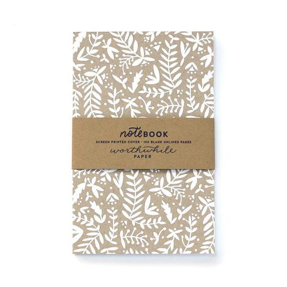 Blank Notebook: Kraft + White Floral