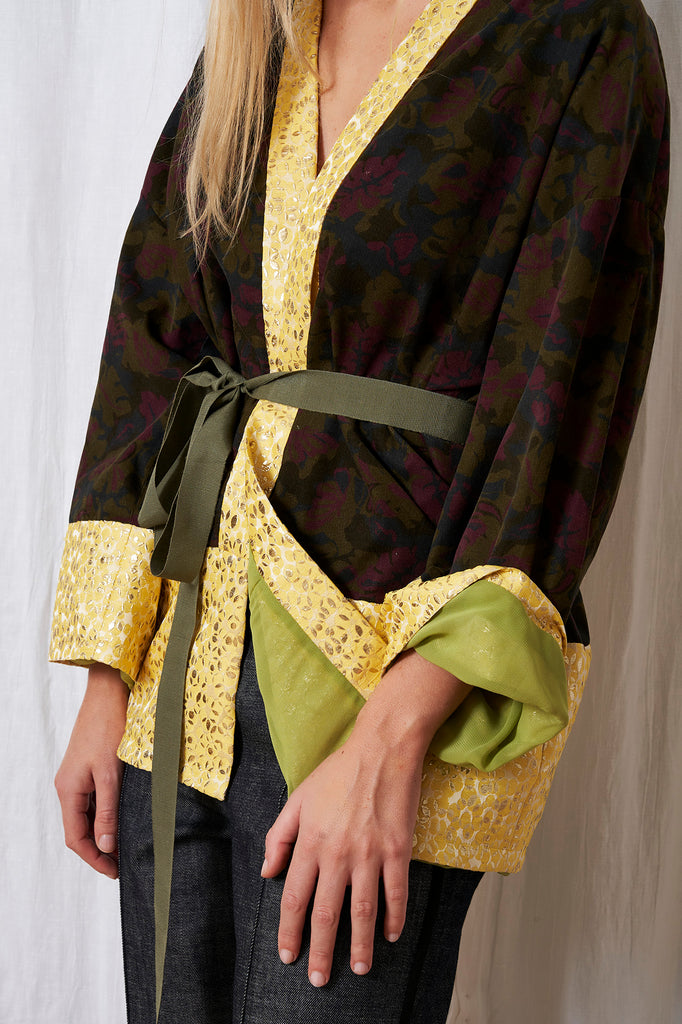 IDEA 3 kimono in velluo con botdi jaquaed e cintura in tessuto (One size fits all)