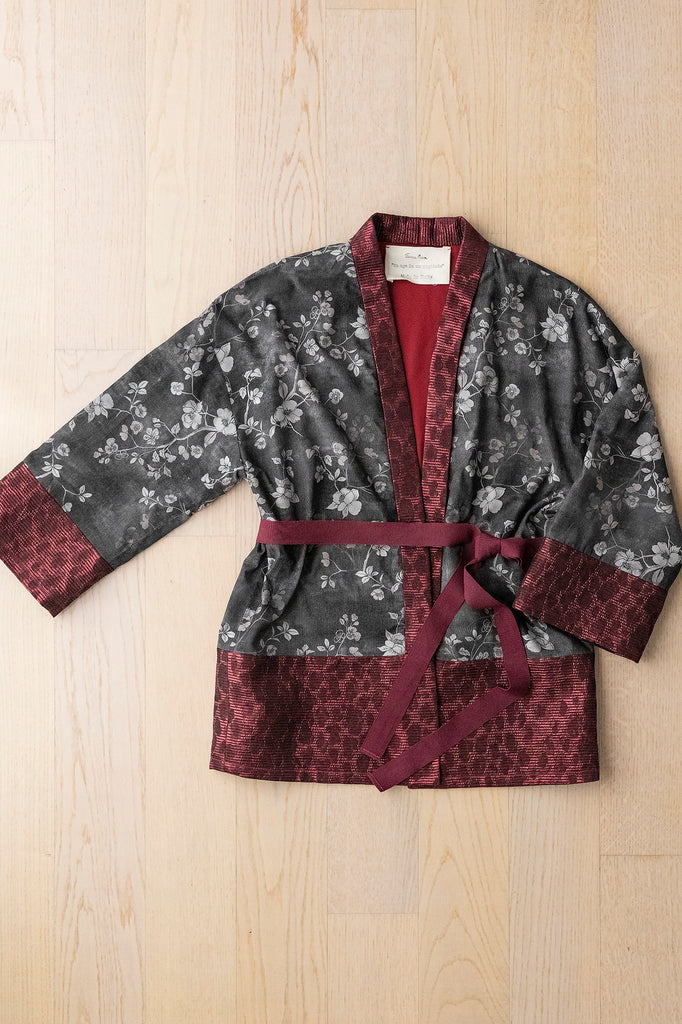 IDEA N.1  kimono in velluto stampato con bordi in jaquard e cintura in tessuto(One size fits all)