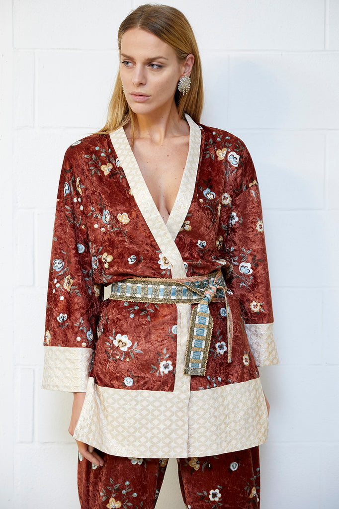 INCORONATA kimono in velluto stampato con bordi jaquard e cintura in tessuto(One size fits all)
