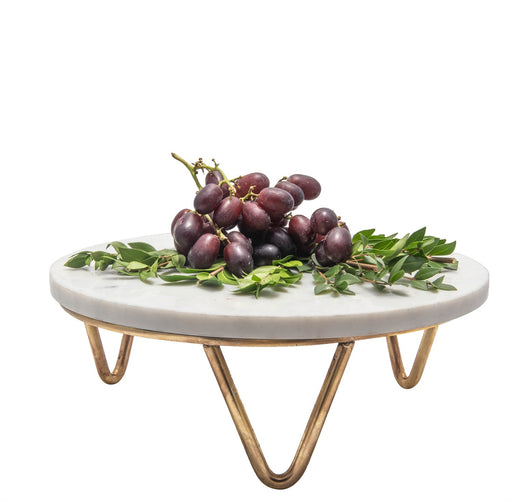 Marble and Brass Trivet/Cake Plate