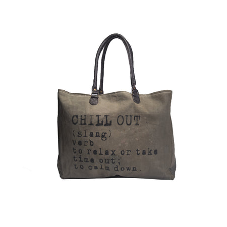 Chill Out  - Recycled Military Tent Market Tote by Vintage Addiction