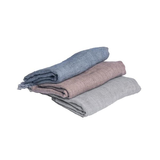 Washed Linen Throw - Charcoal