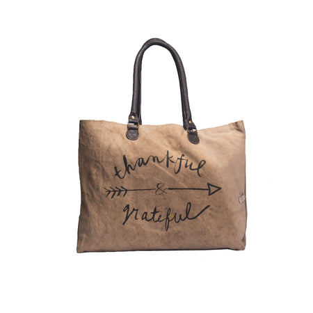 Thankful and Grateful – Recycled Military Tent Market Tote by Vintage Addiction