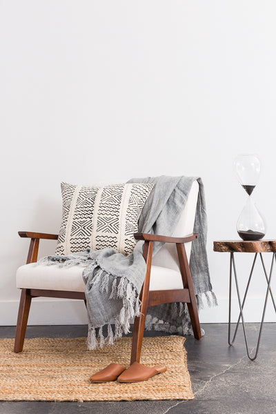 Washed Linen Throw - Cloud