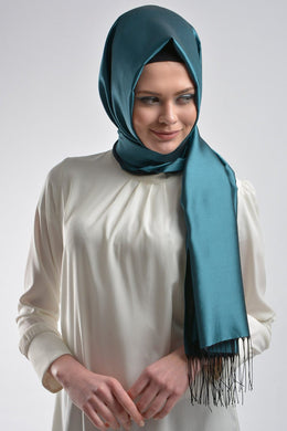 Petrol Blue Shawl with Tassels - Buy Abaya Online