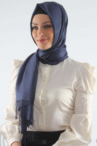Navy Blue Shawl with Tassels - Buy Abaya Online