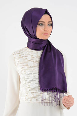 Purple Satin Shawl with Tassels - Buy Abaya Online