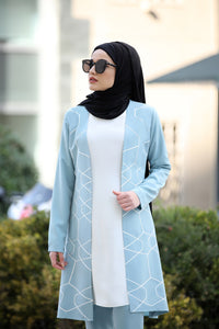 Baby Blue Jacket And Trouser Set - Buy Abaya Online