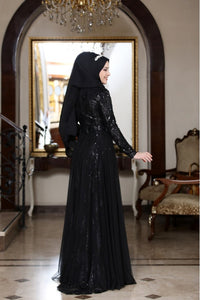 Hazal Black Evening Dress With Matching Scarf - Buy Abaya Online