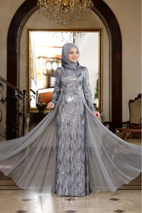 Hazal Grey Evening Dress With Matching Scarf - Buy Abaya Online