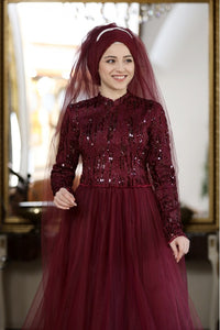 Azra Burgundy Modest Evening Dress with Matching Scarf - Buy Abaya Online