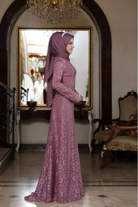 Beyza Powder Pink Evening Dress With Matching Scarf - Buy Abaya Online