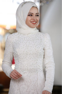 Beyza White Evening Dress With Matching Scarf - Buy Abaya Online