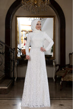 Load image into Gallery viewer, Beyza White Evening Dress With Matching Scarf - Buy Abaya Online