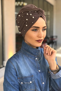 Pearl Taupe Instant Turban Hijab - Buy Abaya Online