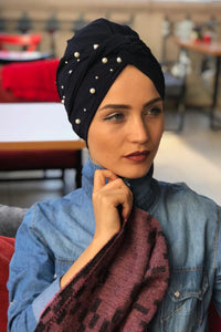 Pearl Navy Blue Instant Turban Hijab - Buy Abaya Online