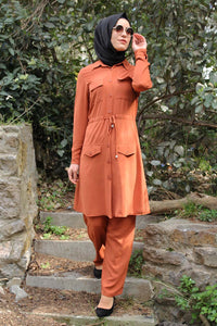 Coral Modest Tunic And Trouser Set - Buy Abaya Online