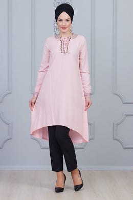 Powder Pink Modest Tunic with Collar Embroidery - Buy Abaya Online