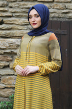 Load image into Gallery viewer, Yellow Striped Dress - Buy Abaya Online