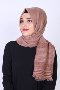 Brown Patterned Sparkly Shawl - Buy Abaya Online