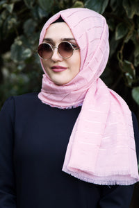 Powder Pink Patterned Shawl - Buy Abaya Online