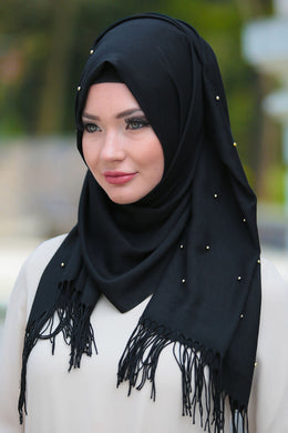 Black Beaded Tassels Shawl - Buy Abaya Online