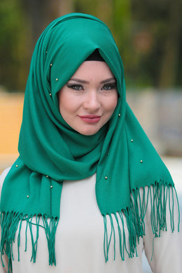 Green Beaded Tassels Shawl - Buy Abaya Online
