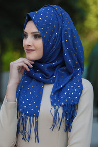 Royal Blue Plain Sequin Shawl - Buy Abaya Online