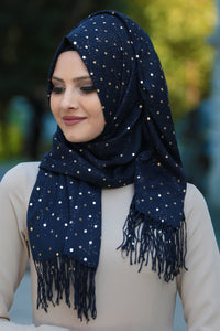 Navy Blue Plain Sequin Shawl - Buy Abaya Online