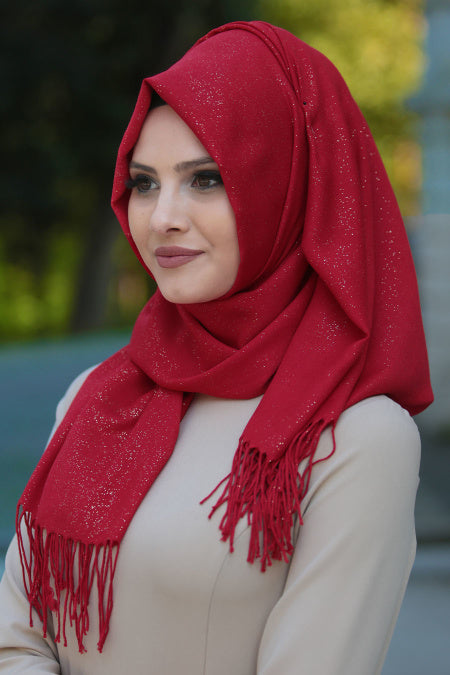 Red Patterned Sparkly Shawl - Buy Abaya Online