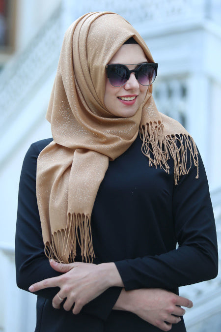 Gold Patterned Sparkly Shawl - Buy Abaya Online